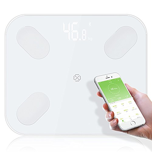 Safflower Will Body Fat Scales Floor Scientific Electronic LED Digital Weight Bathroom Household Balance Bluetooth APP Android or IOS (White)