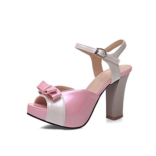AllhqFashion Women's Open Toe High-Heels Soft Material Assorted Color Buckle Heeled-Sandals Pink zRwceE7K3