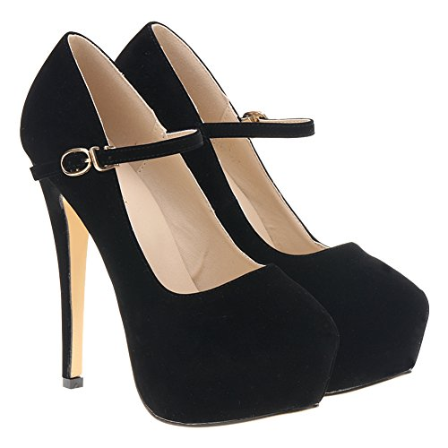 Loslandifen Femmes Mary Jane Chaussures Plateforme Cachée Stiletto Talons Hauts Robe Pompes Velours Noir