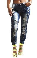 Soho BABE Junior's Rip Off Skinny Moto Biker Denim Jeans-Indigo-5