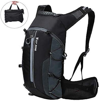 Mochila de ciclismo impermeable, Mochila de bicicleta plegable, transpirable y liviana, paquete de hidratación con bolsillo en la cintura para deportes al aire libre, montañismo que viaja 10L: Amazon.es: Deportes y aire