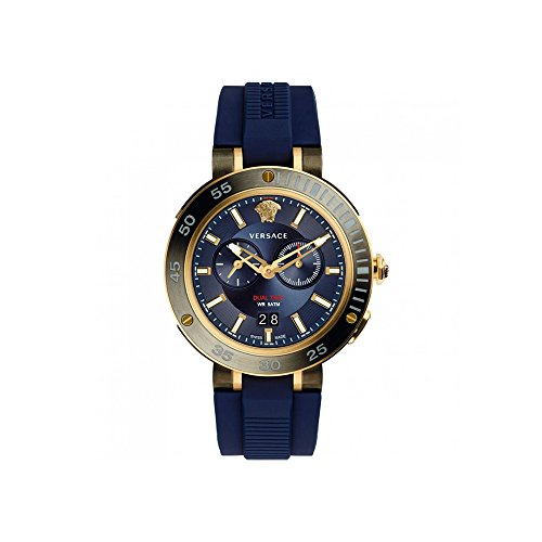 Versace Men's 'V-EXTREME PRO' Swiss Quartz Stainless Steel and Silicone Casual Watch, Color:Blue (Model: - Versace V