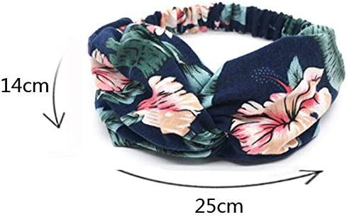 Bylater Elastic Boho Headband for Women Criss Cross Hairbands with Buttons Twisted Knot Hairband Hairwrap Hair Accessories A