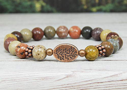(Natural Stone Beaded Bracelet River Jasper with Red Green Yellow Earthy Tones and Tree Branch Focal Bead Bohemian Nature Inspire Jewelry)