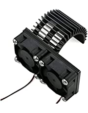 happy time Motor Heatsink Dual Cooling Fans Heat Sink Radiator Fit for Traxxa S Slash 4X4 1/10 RC Cars Parts 2Colors Aluminum Alloy (Color : Black)