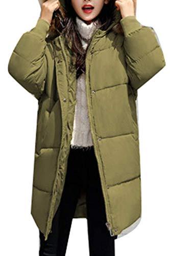 Mujer Cuello con Grün con Bolsillos De Capucha Modernas Manga Cremallera Pluma con Larga Chaqueta Piel Invierno Moda Outerwear Laterales Hipster E7q4C