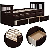 Storage Twin Daybed with Trundle and 3 Storage