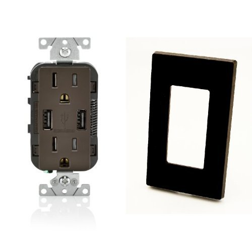 (2-Pack Leviton T5632-B 15-Amp USB Charger/Tamper Resistant Duplex Receptacle, with Screwless Wallplates, Brown)