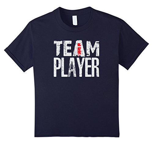 "unisex-child Team Player - The ""I"" In Team Funny Office Sports Shirt 8 Navy"