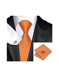 Dark Orange Burly Wood Plaid Silk Necktie Tie Hanky and Cufflinks Set For Men