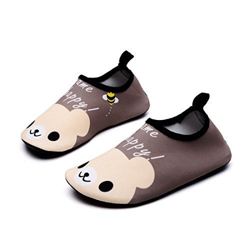 Lewhosy Kids Boys and Girls Swim Water Shoes Quick Drying Barefoot Aqua Socks Shoes for Beach Pool Surfing Yoga(26/Bear Brown) -