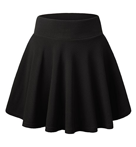 DJT FASHION Women's Basic Versatile Stretchy Flared Casual Mini Skater Skirt Small Black (Black Korean Girl)