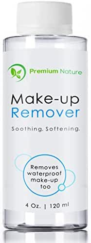 Makeup Remover Facial Cleanser - All Natural Gentle Wash for Eyes Lips & Waterproof Mascara - Moisturize Hydrate Purify & Soothe Skin Remove Impurities Oils & Dirt 4 oz Premium Nature