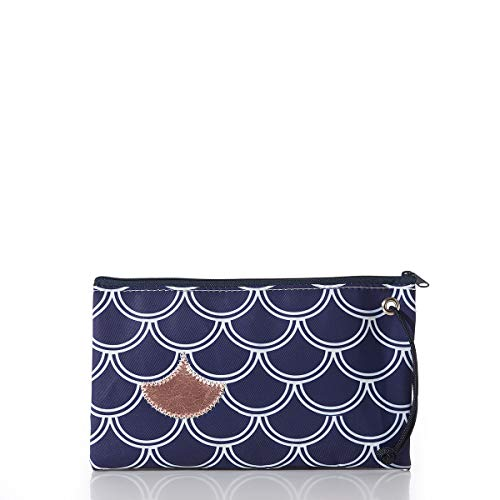 Sea Bags Rose GoldonNavy Fish Scale Large Wristlet