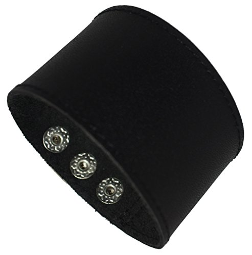 Men's Black Brown White Leather Bracelet Single Layer Wristband Cuff Bangle,Length:21.9cm,Black Leather Cuff Bracelet