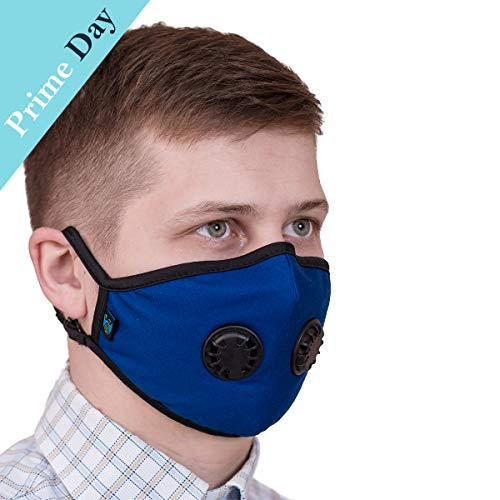 ToRespire Dust Mask N95 N99 Anti Pollution Mask Face Respirator w/ Antiviral / Activated Carbon Filters Reusable & Washable w/ Adjustable Head Straps for Men Women (Small Blue)