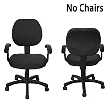 BTSKY Split Type Office Computer Chair Covers Stretchy -Polyester Desk Chair / Rotating Chair Cover, Black