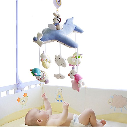 SHILOH Baby Crib Decoration 60 tunes Lullabies Plush Musical Mobile (Blue Plane)