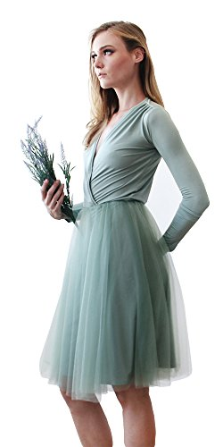 Cinderela Dress (BLUSH Bridesmaid Dresses, Midi Tulle Dress With Long Sleeves, Sexy gown)