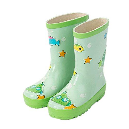 MIGO BABY Kids Boys Girls Cute Printed Waterproof Slip-On Rubber Rain Boots (Toddler/Little Kids)