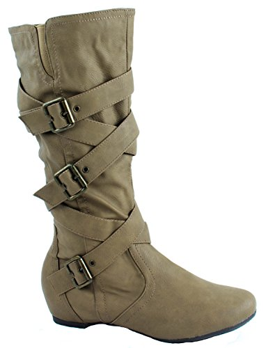 with Buckle Boots Kizzy Crossed Fashion Straps Womens Criss Camel Leather 12 Focus Faux Zxv606OwSq