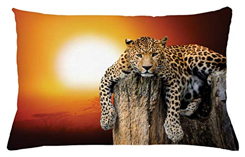 "Ambesonne Safari Throw Pillow Cushion Cover, Leopard Sitting on Dry Tree at Sunset Danger in The Air Big Cat with Spotted Form, Decorative Rectangle Accent Pillow Case, 26"" X 16"", Orange Brown"