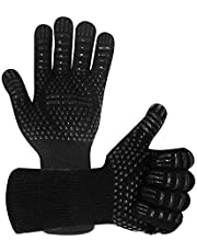 Warome BBQ Gloves 1472℉/800°C Heat Resistant Gloves, Fireproof Barbecue Grilling Potholders Silicone Non-Slip Barbeque Gloves for BBQ, Cooking, Baking, Grilling, Welding (Black)