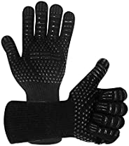 Warome BBQ Gloves 1472℉/800°C Heat Resistant Gloves, Fireproof Barbecue Grilling Potholders Silicone Non-Slip