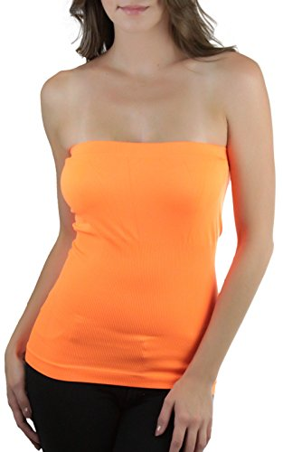 Orange Tube Top - ToBeInStyle Women's Seamless Bandeau Tube Top Ribbed Without Pad - Neon Orange - One Size