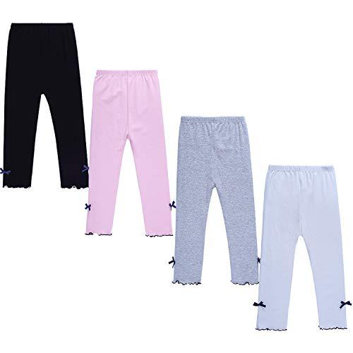 (DOCHY Little Girls Leggings 4 Pack Baby Cotton Leggings Toddler Pants Girls for School Uniform Play (2-3T))