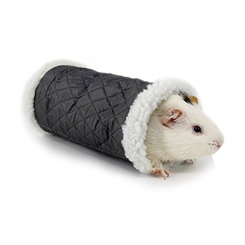 Small Pet Animal Tunnel Toy, Stock Show Winter Warm Berber Fleece Tube Hideout Bed Playing Channel for Hamster/Gerbil Rat/Guinea Pig/Chinchilla/Squirrel, Grey