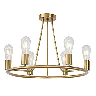 6 Light Kitchen Island Farmhouse Round Chandelier Lighting Brushed Brass Flush Mount Hanging Glass Pendant Lights Vintage Gold Ceiling Light Fixture by BONLICHT