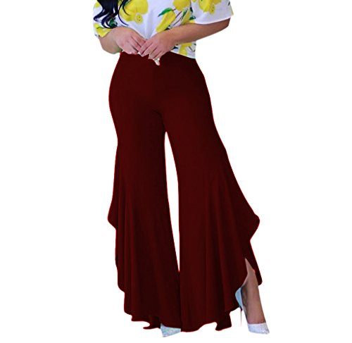 (Women High Elastic Waist Split Ruffle Bottom Chic Fit and Flared Pants XL WineRed )