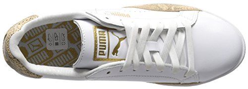 Puma Women's Match Lo PNT Snake WN's Tennis Shoe, White/Snake Print, B(M) US Puma White/Gold