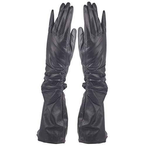 - H&j Winter Fleece Lined Ruched Elbow Length Long Evening Dress Leather Gloves (X-Large-8, Black)