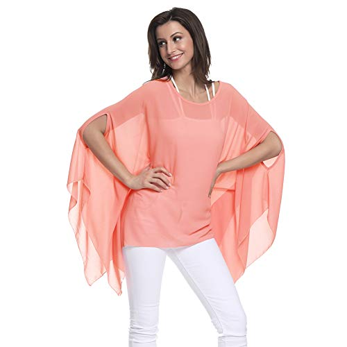 - Max Hsuan Women's Loose Solid Sheer Chiffon Caftan Poncho Batwing Tunic Top Blouse Summer Oversized Shirts Pink