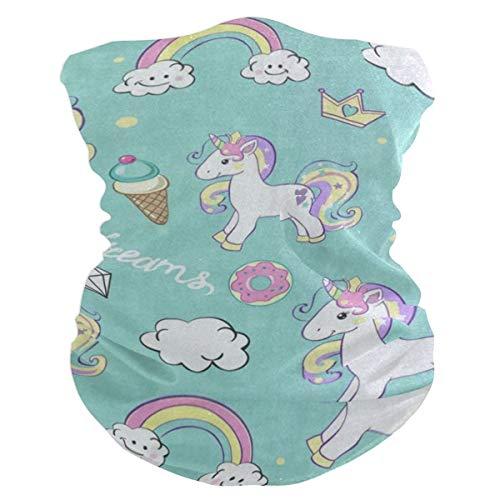 - Beautiful Unicorn Ice Cream Donut Rainbow Balaclava Womens Headband Scarf Mens Bandana,Muffler,Neck Gaiter,Magic,Wristband Tube