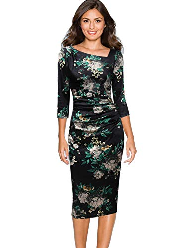 (VFSHOW Womens Velvet Floral Print Ruched Draped Cocktail Party Sheath Dress 1533 FLW XS)