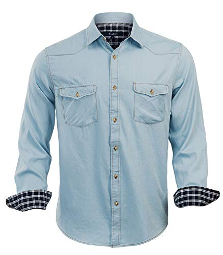 CAMS Mens Long Sleeve Denim Shirts Regular Fit Solid Denim Shirts Men(DE02,M) ()