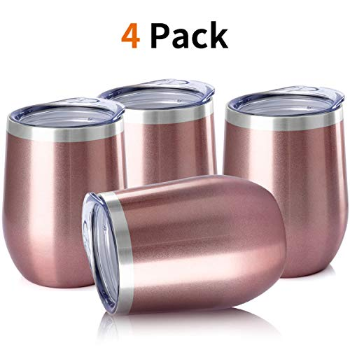OENB Stainless Steel Stemless Wine Glass Tumbler with Lid, 12 oz | Double Wall Vacuum Insulated Travel Tumbler Cup for Coffee, Wine, Cocktails, Wall Vaccum Insulation cup (Rose gold/4 pack) (Tall Glass Tumbler)