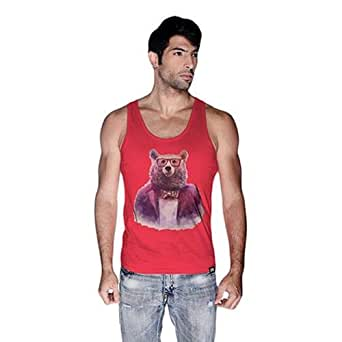 Creo Bear Pug Life Scoop Neck Tank Top For Men - M, Pink