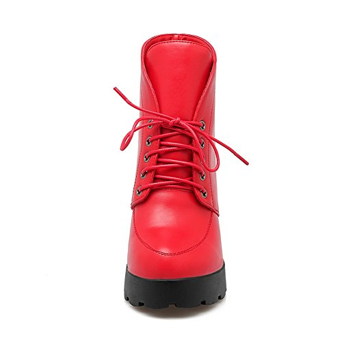 Girls Boots Red Platform Imitated Chunky Leather Heels Bandage 1TO9 wdn0gxqSaw