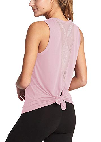 Activewear Sleeveless Tees - Bestiun Tie Back Yoga Tank Strech Workout Backless Mesh Top Teen Girls Sport Shirts Super Soft Breathable Activewear Tie Back Yoga Clothing for Leggings Pink L
