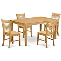 East West Furniture CANO5-OAK-W 5-Piece Dining Table Set