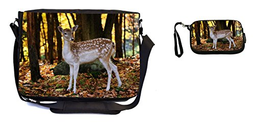 Rikki Knight Bambi Baby Deer Design Messenger Bag - School Bag - Laptop Bag - with Padded Insert - Includes UKBK Premium Coin Purse