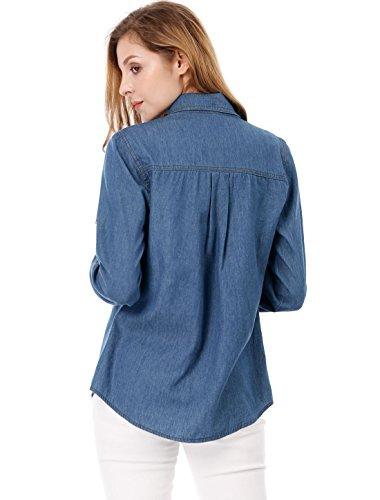 Camisa Oscuro Azul Vaquera Allegra De Cuello Mujeres Pico Enrolladas K Mangas para Rq5PSq
