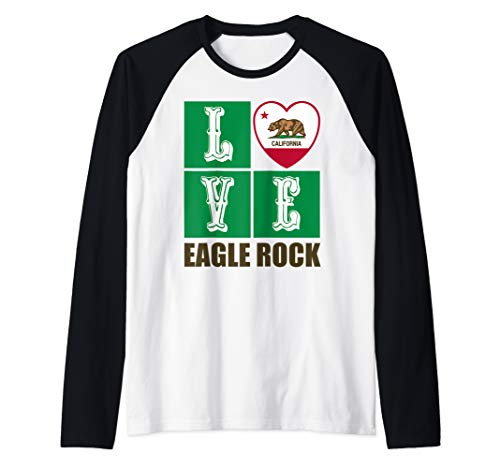 California Republic State Flag Heart Cali Love Eagle Rock Raglan Baseball Tee