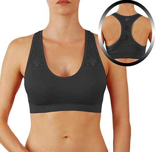 4e0488b187 Women s Yoga Top Sports Bra Add 1 Cups Extra Padded Breathable Race Back (M