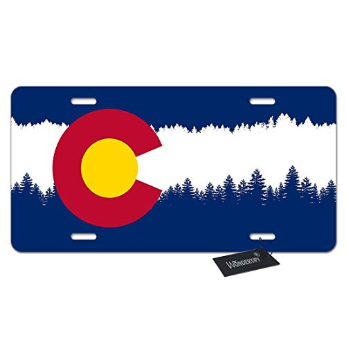 (WONDERTIFY License Plate Colorado Tree Flag White Stripe Line Flag Decorative Car Front License Plate,Vanity Tag,Metal Car Plate,Aluminum Novelty License Plate for Men/Women/Boy/Girls Car,6 X 12 Inch )