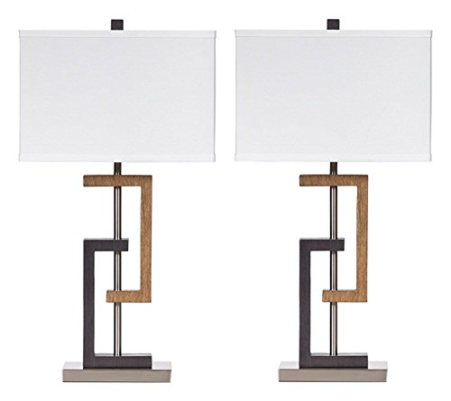 Ashley Furniture Signature Design - Syler Faux Wood Table Lamp - Contemporary Rectangular Shades - Set of 2 - Brushed Silver